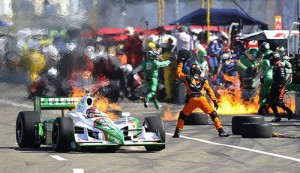 Kanaan on fire at Edmonton - Photo: Edmonton Journal