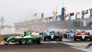 Conor Daly leads the field into Turn 1 at St. Petersburg. -Photo courtesy of StarMazda.com
