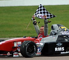 Mark Eaton taking his victory lap in the first Formula Enterprise championship race at the 2008 SCCA Runoffs in Heartland Park Topeka.