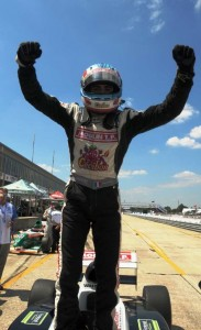 Tristan Vautier celebrates his win at Sebring. -Photo courtesy of StarMazda.com