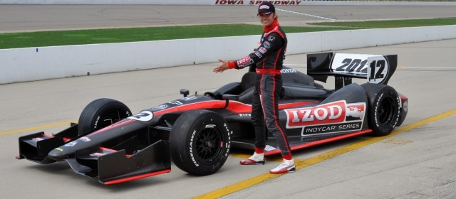 Dan Wheldon showing off the 2012 Dallara in oval trim. Photo: Bill Zahren, pressdog.com