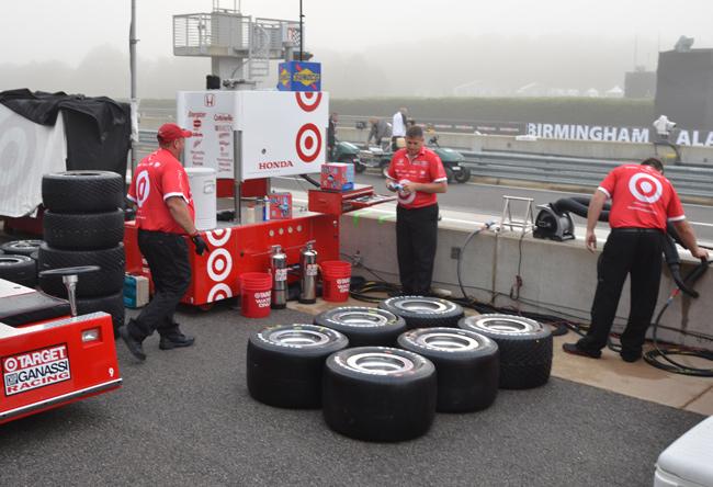 foggy Target pit at Barber Motorsports Park