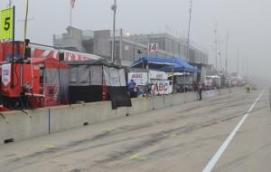 foggy pit lane at Barber Motorsports Park