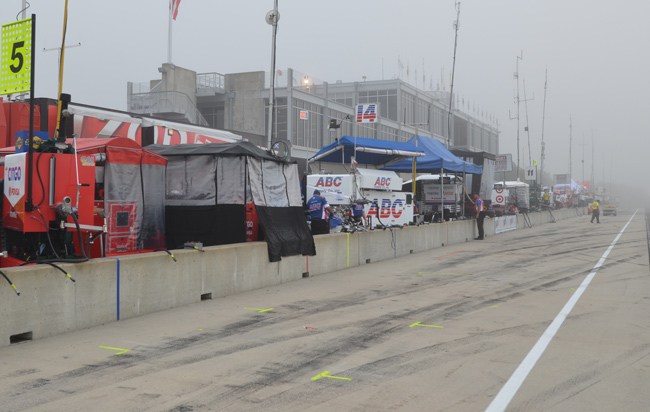 foggy pit lane at Barber Motorsports Park