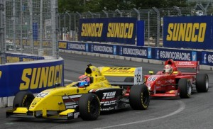 Hawksworth and Karam battling in the Star Mazda race in Baltimore