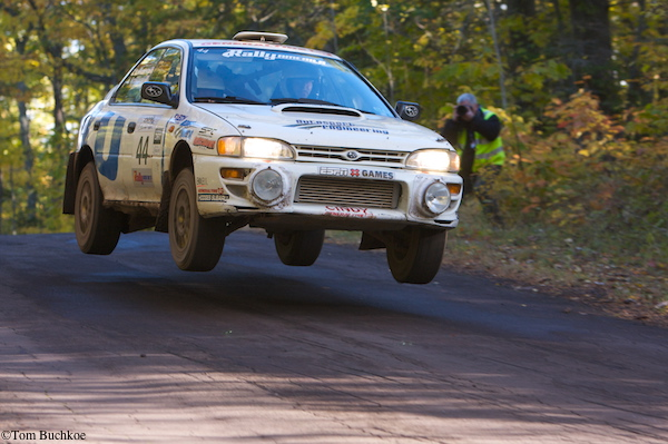 Henry and Cynthia Krolikowski take a high speed jump at LSPR Rally.