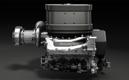 Early image of Mercedes turbo V6 for 2014.