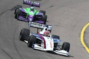 Hawksworth leads Veach in the opening laps of the Sukup 100. -- Photo by Chris Jones, INDYCAR