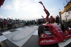 Sage Karam celebrates his 4th straight victory at the Iowa Speedway. -- Photo by Shawn Gritzmacher, INDYCAR