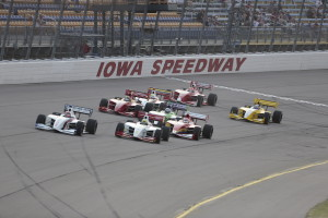 The green flag drops on the 2013 Sukup 100. -- Photo by Shawn Gritzmacher, INDYCAR