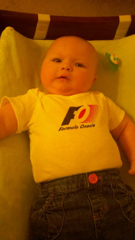 Sarah in her Formula Onesie
