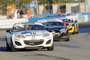 John Dean leads the Mazda MX-5 Cup field in Round Two at his home track of Sebring International Raceway. Photo credit: Mark Weber
