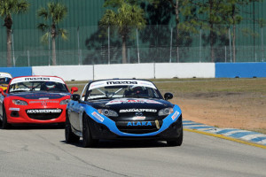 Kenton Koch has a big points day, winning Round One of the Mazda MX-5 Cup at Sebring. Photo credit: Mark Weber