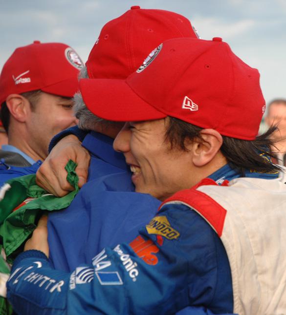 Takuma Sato hugs A.J. Foyt