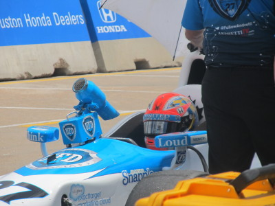 James Hinchcliffe in his pit during Practice 2